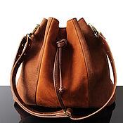 Сумки и аксессуары handmade. Livemaster - original item Bag-bag made of natural brown suede with a leather strap. Handmade.