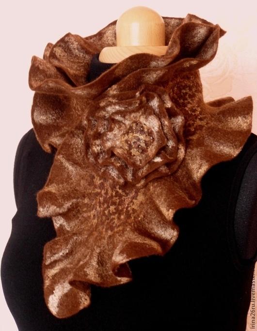 """Шарфы и шарфики ручной работы. Ярмарка Мастеров - ручная работа. Купить Валяный шарф-горжетка """"Шоколадный мусс"""". Handmade. Коричневый"""