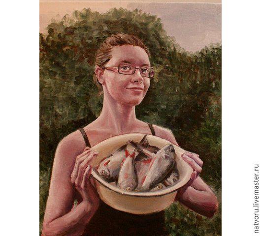 Люди, ручной работы. Ярмарка Мастеров - ручная работа. Купить Рыбачка. Handmade. Зеленый, портрет, портрет на заказ, портрет по фото