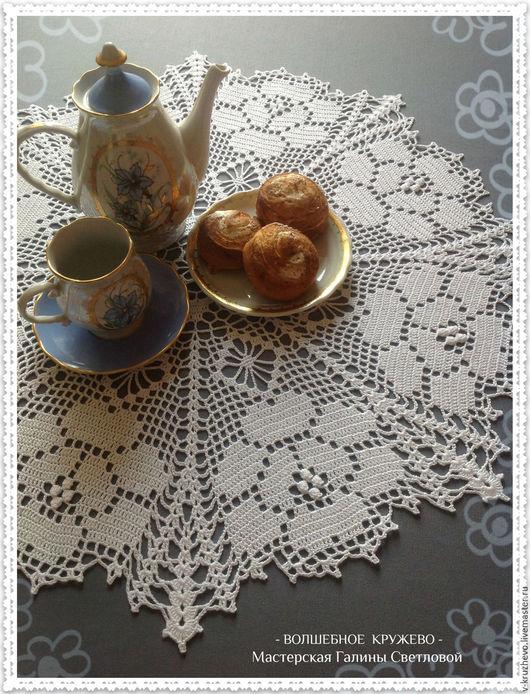 Текстиль, ковры ручной работы. Ярмарка Мастеров - ручная работа. Купить Вязаная крючком ажурная салфетка Розы на снегу из хлопка. Handmade.