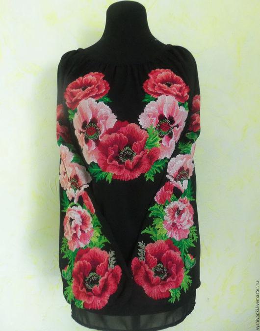 Этническая одежда ручной работы. Ярмарка Мастеров - ручная работа. Купить Невероятно красивая женская вышиванка на шифоне Маки. Handmade.
