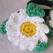 Работы для детей, handmade. Livemaster - original item The rubber BANDS knitted rubber bands and hair clips Daisies. Handmade.