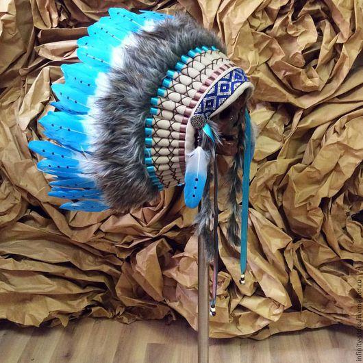 Этническая одежда ручной работы. Ярмарка Мастеров - ручная работа. Купить Индейский головной убор - Облачный День II. Handmade.