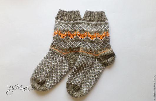 """Носки, Чулки ручной работы. Ярмарка Мастеров - ручная работа. Купить Носки """"Лисы"""". Handmade. Комбинированный, Лисонька, носки с лисами"""