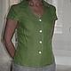 Блузки ручной работы. Ярмарка Мастеров - ручная работа. Купить Рубашка из умягченного льна. Handmade. Зеленый, льняные изделия