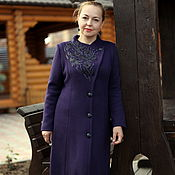 "Одежда handmade. Livemaster - original item Knitted coat ""Running on waves"" blueberry color. Handmade."