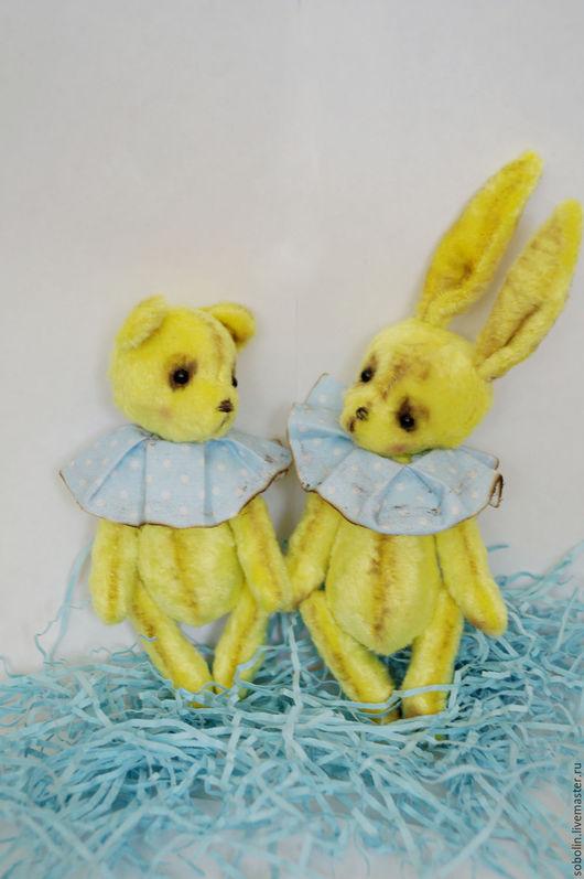 """Мишки Тедди ручной работы. Ярмарка Мастеров - ручная работа. Купить """"Cute friends"""" LI bunny&bear sun glare- Солнечные блики. Handmade."""
