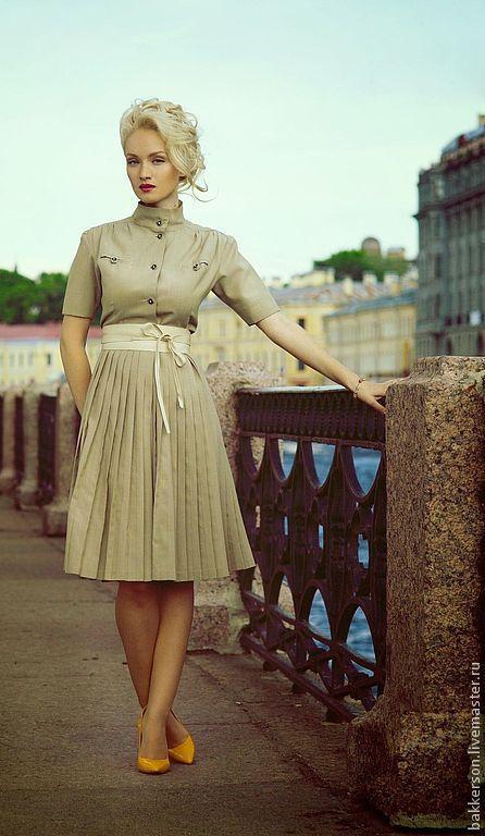 Платья ручной работы. Ярмарка Мастеров - ручная работа. Купить Мюнхен. Handmade. Бежевый, платье с плиссе, праздничное платье