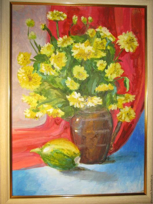 Картины цветов ручной работы. Ярмарка Мастеров - ручная работа. Купить Картина маслом Цветы. Handmade. Желтый, натюрморт с цветами