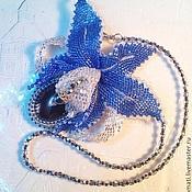 """Украшения handmade. Livemaster - original item Pendant and beads """"Winter Orchid"""". Handmade."""