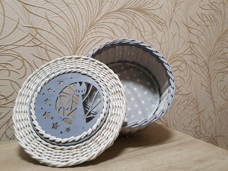 Шкатулка плетёная из бумажной лозы, Шкатулки, Корткерос,  Фото №1