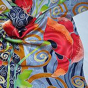 """Аксессуары ручной работы. Ярмарка Мастеров - ручная работа Шелковый платок """"Маки, серебро и золото"""".. Handmade."""