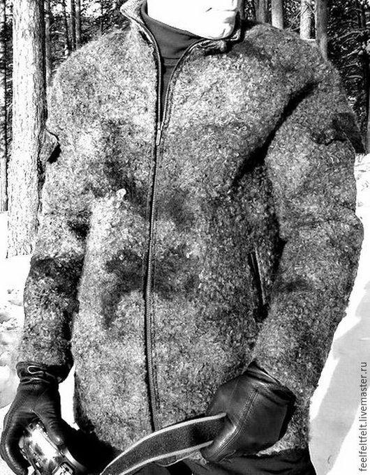 Для мужчин, ручной работы. Ярмарка Мастеров - ручная работа. Купить Мужская бесшовная куртка из шерсти и флиса. Handmade.