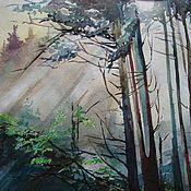 """Картины и панно ручной работы. Ярмарка Мастеров - ручная работа Авторская картина акварелью  """"Лесной воздух"""". Handmade."""