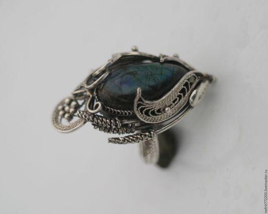 Кольца ручной работы. Ярмарка Мастеров - ручная работа. Купить Кольцо с лабрадоритом. Handmade. Синий, перстень с камнем
