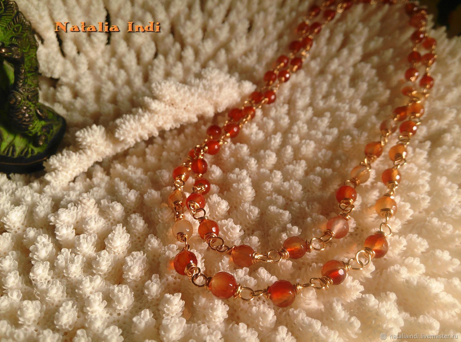 """Carnelian necklace in Wire Wrap technique """"Moscow"""", Necklace, Moscow,  Фото №1"""