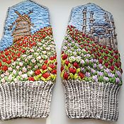 Аксессуары handmade. Livemaster - original item Country of tulips, mittens-knitted women`s paintings. Handmade.