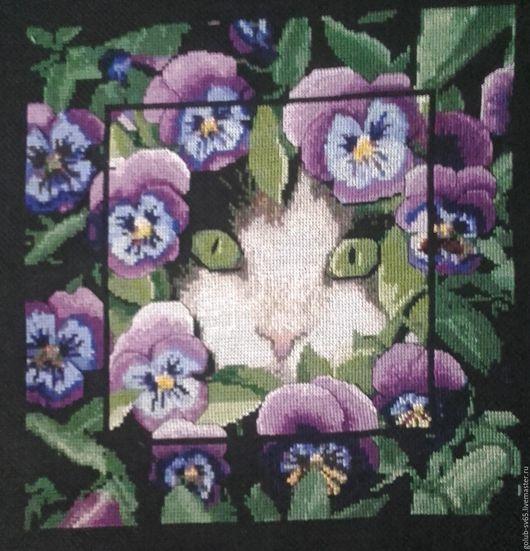 Животные ручной работы. Ярмарка Мастеров - ручная работа. Купить Кот в весенних фиалках. Handmade. Сиреневый, украшение для интерьера, подарок