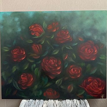 Картины и панно ручной работы. Ярмарка Мастеров - ручная работа «Кустовые розы» картина маслом 50 на 60 см. Handmade.