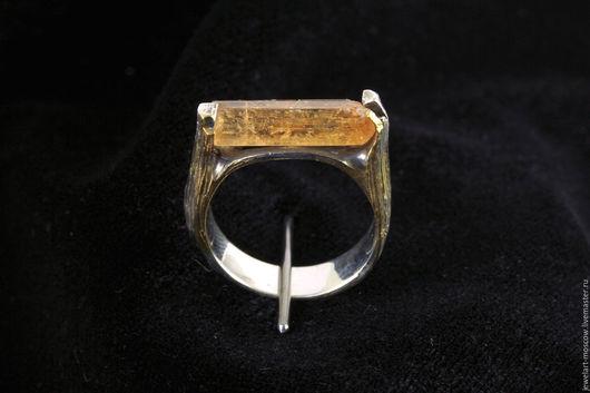 Кольцо с топазом, топаз империал, серебро, позолота, кольцо, топаз империал, топаз оранжевый, украшения с топазом, оранжевый кристалл,  кольца с топазами, кристалл топаза, золочение, jewelart