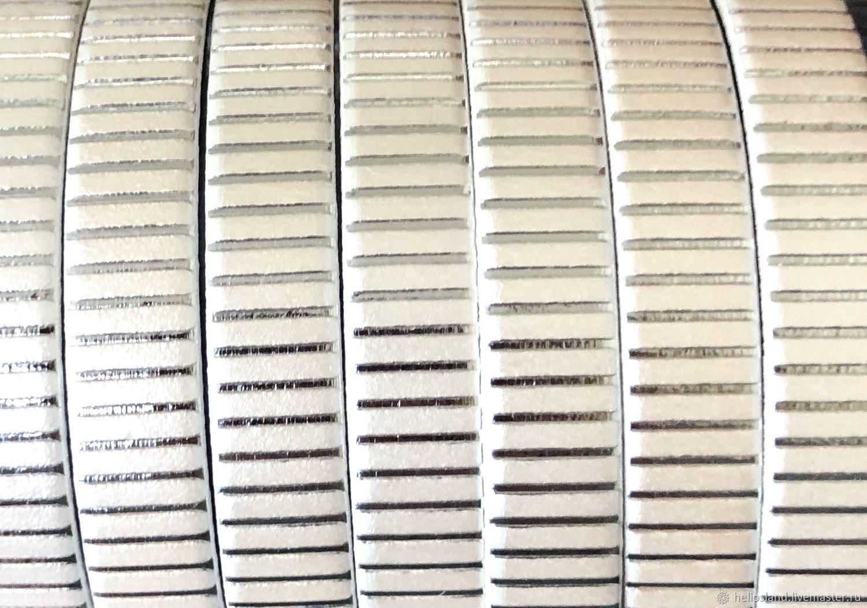Кожаный шнур плоский 10 мм белый перламутр с рисунком, Шнуры, Москва,  Фото №1