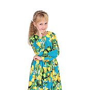 Работы для детей, handmade. Livemaster - original item Turquoise knit dress with yellow lemons for girl. Handmade.