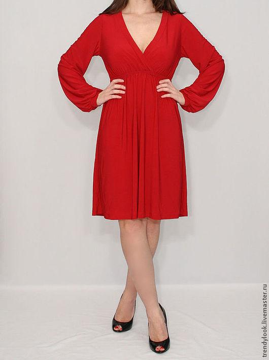 Платья ручной работы. Ярмарка Мастеров - ручная работа. Купить Красное платье Короткое платье с длинным рукавом. Handmade. handmade