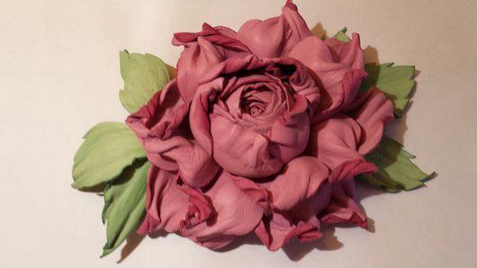"""Цветы ручной работы. Ярмарка Мастеров - ручная работа. Купить Цветок из кожи . Роза"""" Нежность"""". Handmade. Подарок девушке"""