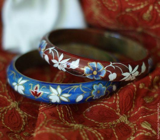 """Браслеты ручной работы. Ярмарка Мастеров - ручная работа. Купить Браслеты """"Цветочная фантазия"""". Handmade. Тёмно-синий, цветы"""