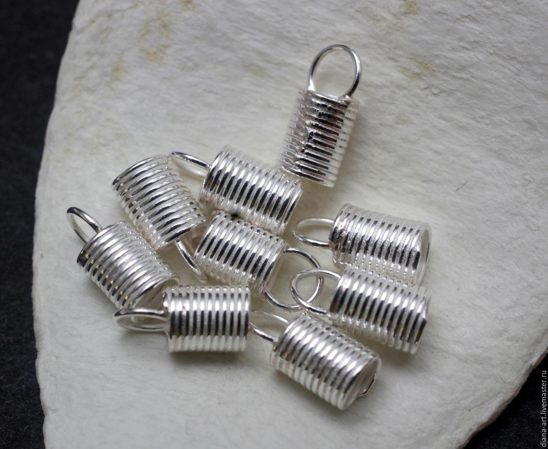 Концевик для шнура из серебра 925, Для украшений, Москва, Фото №1