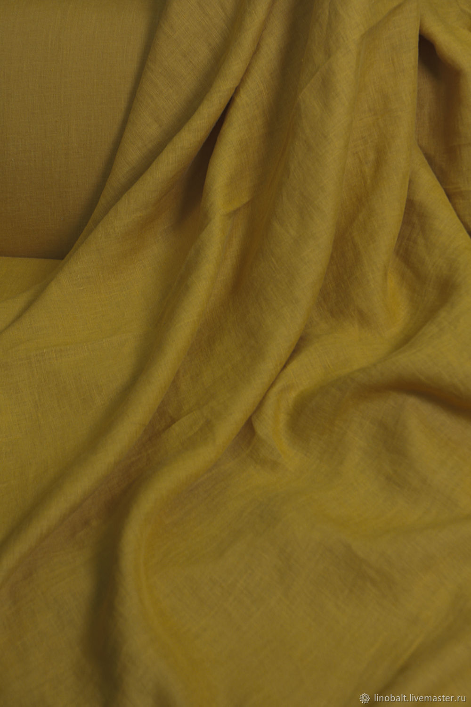 Ткань льняная, с эффектом мятости, цвет: светло-горчичный, Ткани, Санкт-Петербург,  Фото №1