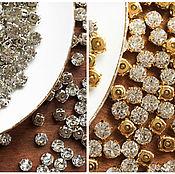Кристаллы ручной работы. Ярмарка Мастеров - ручная работа Стразы пришивные 8 мм круглые в цапах, серебро, золото. Handmade.
