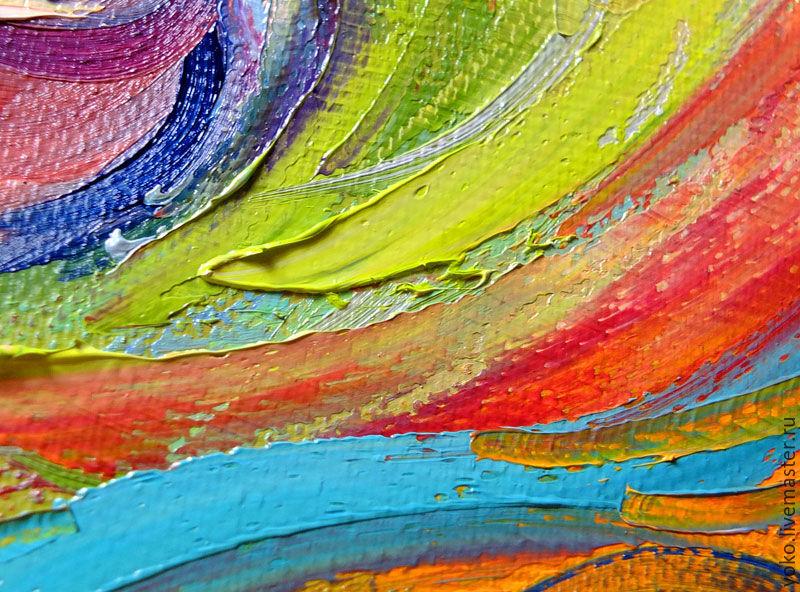 """Multicolor Francoise Nielly Portraits Handmade Oil: Oil Painting """"Rainbow Horse"""""""