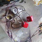 """Украшения ручной работы. Ярмарка Мастеров - ручная работа Серьги """"Коралловые сердца"""". Handmade."""