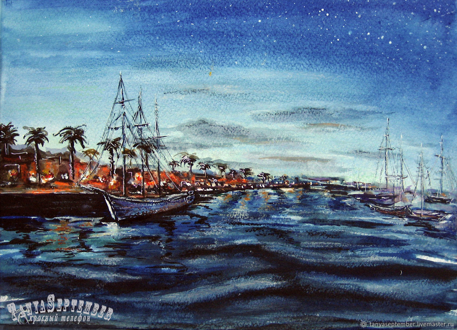 Painting watercolor IN the SOUTH PORT (with Passepartout), Pictures, Moscow,  Фото №1