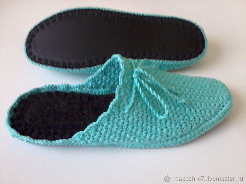 Slippers - flip flops for home ( cotton - turquoise ), Slippers, Vyazniki,  Фото №1