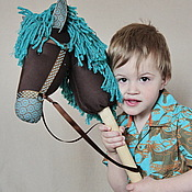 Куклы и игрушки ручной работы. Ярмарка Мастеров - ручная работа Лошадка на палочке бирюзовая.. Handmade.