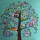 """Фантазийные сюжеты ручной работы. Заказать Картина """" Дерево"""". Irina Selyutina. Ярмарка Мастеров. Птички, дерево, контуры акриловые"""