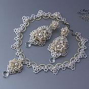 Свадебный салон handmade. Livemaster - original item A set of wedding ornaments Aphrodite tatting e-earrings, necklaces. Handmade.