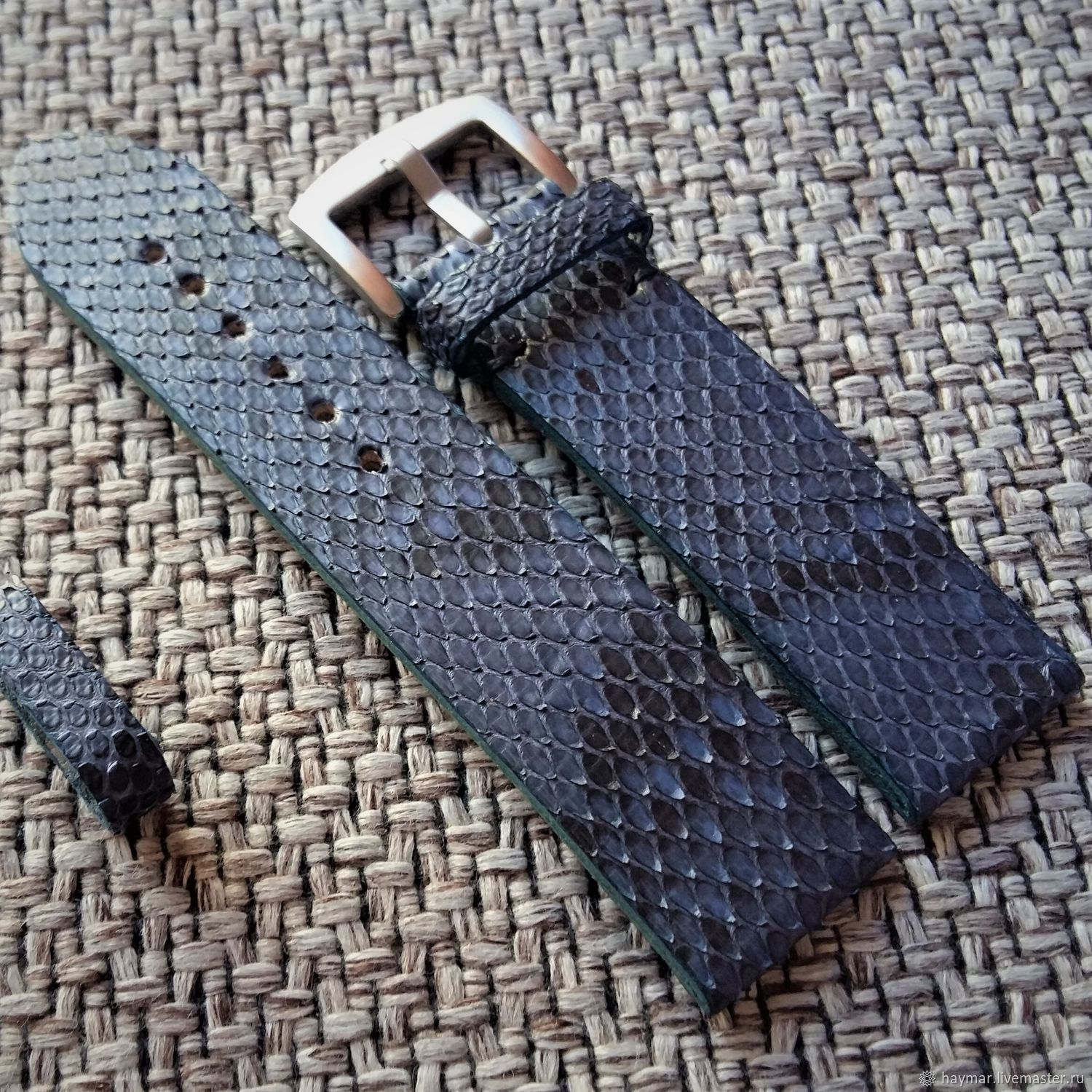 Blue watchband 20mm from Python i22mm, Straps, Moscow,  Фото №1