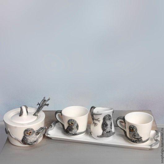 Сервизы, чайные пары ручной работы. Ярмарка Мастеров - ручная работа. Купить Кофейный сервиз, декорированный совами из полимерной глины. Handmade.