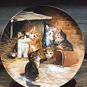 Предметы интерьера винтажные ручной работы. Ярмарка Мастеров - ручная работа Фарфоровая настенная тарелка котята Мотив 3 Seltmann Германия. Handmade.
