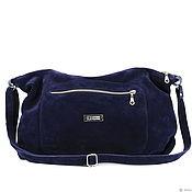 Сумки и аксессуары handmade. Livemaster - original item Blue suede Crossbody bag with shoulder strap and pockets. Handmade.