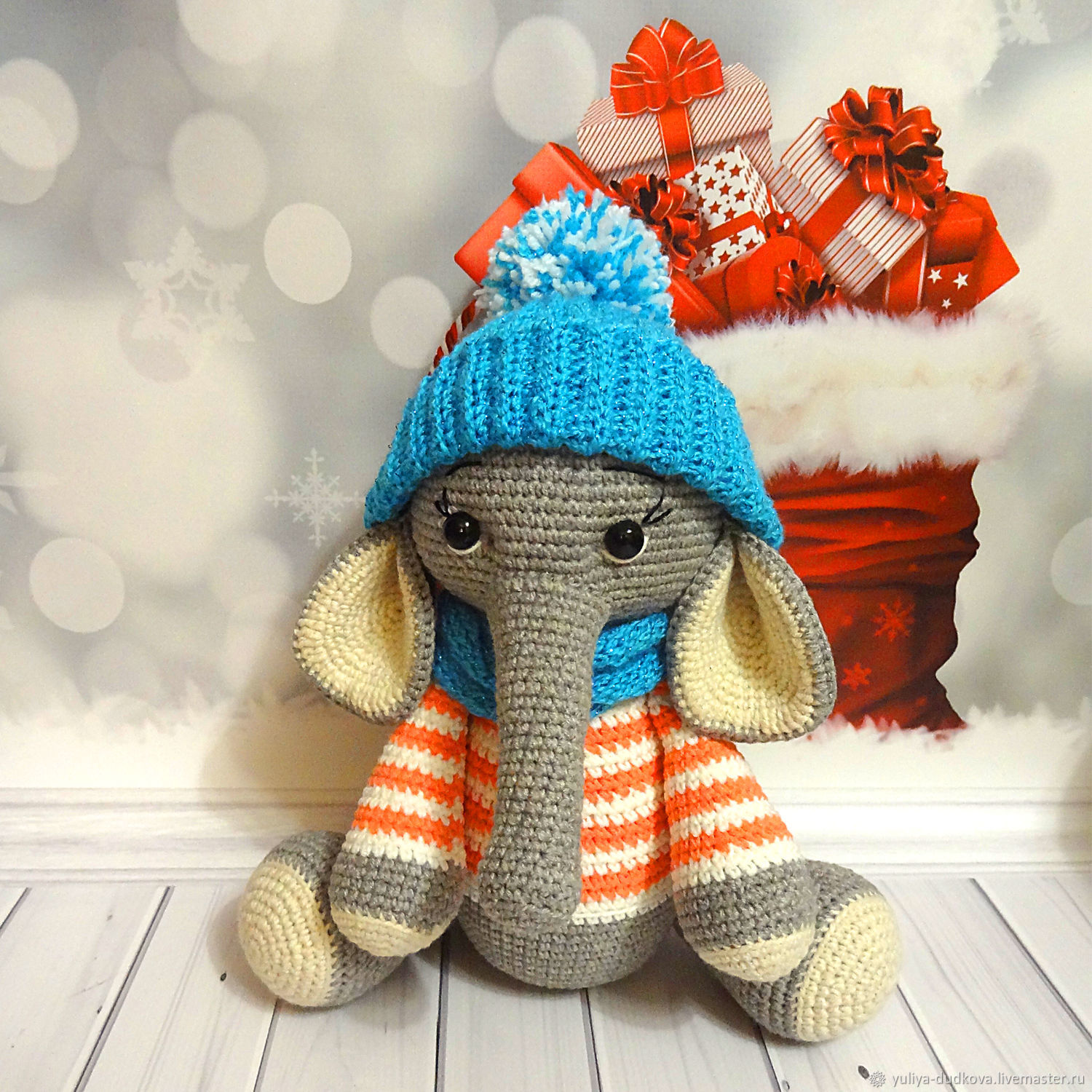 Elephant in a hat and scarf, Stuffed Toys, Omsk,  Фото №1