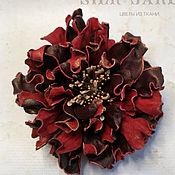 Украшения handmade. Livemaster - original item Flower from leather brooch peony. Handmade.