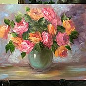Картины и панно handmade. Livemaster - original item Roses in a glass vase. Handmade.