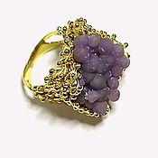Украшения handmade. Livemaster - original item Gold plated 925 sterling silver ring with raw chalcedony. Handmade.