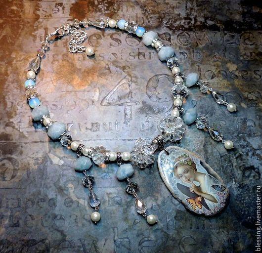 Колье `Ангел тишины`. Поделочные камни. Ярмарка Мастеров. Solar wind