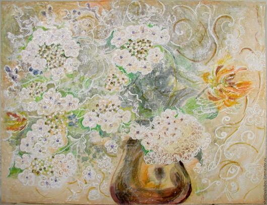 """Картины цветов ручной работы. Ярмарка Мастеров - ручная работа. Купить """"Фреска"""" Букет калины. Handmade. Комбинированный, картина с цветами"""