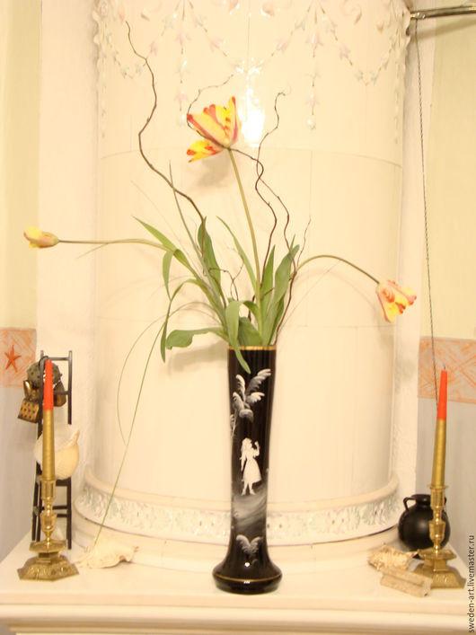 Винтажные предметы интерьера. Ярмарка Мастеров - ручная работа. Купить Парные вазы 1800 гг из стекла   Mary Gregory. Handmade.